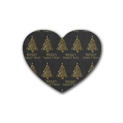 Merry Christmas Tree Typography Black And Gold Festive Rubber Coaster (heart)  by yoursparklingshop