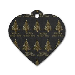 Merry Christmas Tree Typography Black And Gold Festive Dog Tag Heart (one Side) by yoursparklingshop