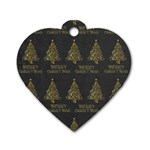 Merry Christmas Tree Typography Black And Gold Festive Dog Tag Heart (Two Sides) Front
