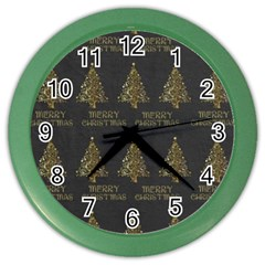 Merry Christmas Tree Typography Black And Gold Festive Color Wall Clocks by yoursparklingshop