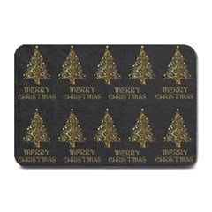 Merry Christmas Tree Typography Black And Gold Festive Plate Mats by yoursparklingshop