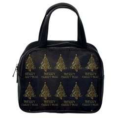 Merry Christmas Tree Typography Black And Gold Festive Classic Handbags (one Side) by yoursparklingshop