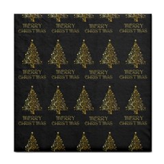 Merry Christmas Tree Typography Black And Gold Festive Face Towel by yoursparklingshop