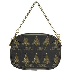 Merry Christmas Tree Typography Black And Gold Festive Chain Purses (one Side)  by yoursparklingshop
