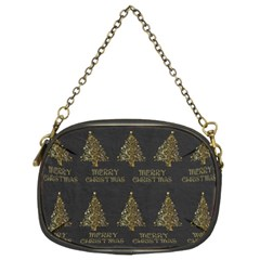 Merry Christmas Tree Typography Black And Gold Festive Chain Purses (two Sides)  by yoursparklingshop