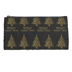 Merry Christmas Tree Typography Black And Gold Festive Pencil Cases by yoursparklingshop