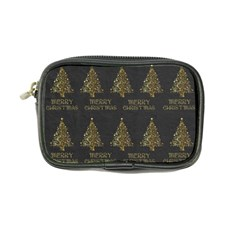 Merry Christmas Tree Typography Black And Gold Festive Coin Purse by yoursparklingshop