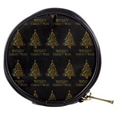 Merry Christmas Tree Typography Black And Gold Festive Mini Makeup Bags by yoursparklingshop