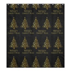 Merry Christmas Tree Typography Black And Gold Festive Shower Curtain 66  X 72  (large)  by yoursparklingshop