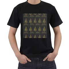 Merry Christmas Tree Typography Black And Gold Festive Men s T Shirt (black) by yoursparklingshop