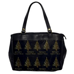 Merry Christmas Tree Typography Black And Gold Festive Office Handbags by yoursparklingshop