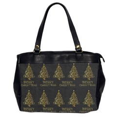 Merry Christmas Tree Typography Black And Gold Festive Office Handbags (2 Sides)  by yoursparklingshop
