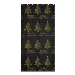 Merry Christmas Tree Typography Black And Gold Festive Shower Curtain 36  X 72  (stall)  by yoursparklingshop