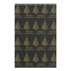 Merry Christmas Tree Typography Black And Gold Festive Shower Curtain 48  X 72  (small)  by yoursparklingshop