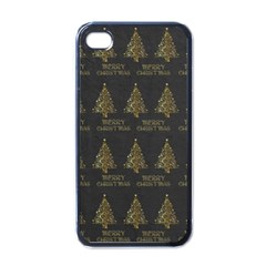 Merry Christmas Tree Typography Black And Gold Festive Apple Iphone 4 Case (black) by yoursparklingshop