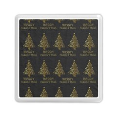 Merry Christmas Tree Typography Black And Gold Festive Memory Card Reader (square)  by yoursparklingshop