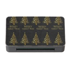 Merry Christmas Tree Typography Black And Gold Festive Memory Card Reader With Cf by yoursparklingshop