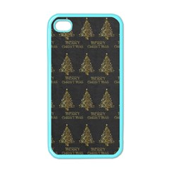 Merry Christmas Tree Typography Black And Gold Festive Apple Iphone 4 Case (color) by yoursparklingshop