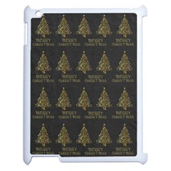 Merry Christmas Tree Typography Black And Gold Festive Apple Ipad 2 Case (white) by yoursparklingshop