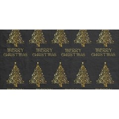 Merry Christmas Tree Typography Black And Gold Festive You Are Invited 3d Greeting Card (8x4) by yoursparklingshop