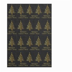 Merry Christmas Tree Typography Black And Gold Festive Large Garden Flag (two Sides) by yoursparklingshop