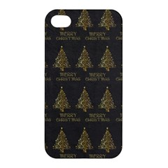 Merry Christmas Tree Typography Black And Gold Festive Apple Iphone 4/4s Premium Hardshell Case by yoursparklingshop