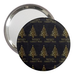 Merry Christmas Tree Typography Black And Gold Festive 3  Handbag Mirrors by yoursparklingshop