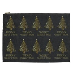 Merry Christmas Tree Typography Black And Gold Festive Cosmetic Bag (xxl)  by yoursparklingshop