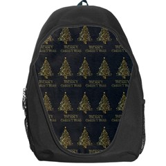 Merry Christmas Tree Typography Black And Gold Festive Backpack Bag by yoursparklingshop