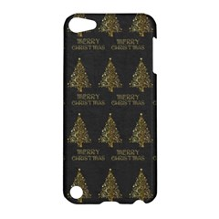 Merry Christmas Tree Typography Black And Gold Festive Apple Ipod Touch 5 Hardshell Case by yoursparklingshop