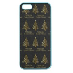 Merry Christmas Tree Typography Black And Gold Festive Apple Seamless Iphone 5 Case (color) by yoursparklingshop