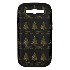 Merry Christmas Tree Typography Black And Gold Festive Samsung Galaxy S Iii Hardshell Case (pc+silicone) by yoursparklingshop