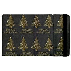 Merry Christmas Tree Typography Black And Gold Festive Apple Ipad 2 Flip Case by yoursparklingshop