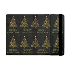 Merry Christmas Tree Typography Black And Gold Festive Apple Ipad Mini Flip Case by yoursparklingshop