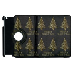 Merry Christmas Tree Typography Black And Gold Festive Apple Ipad 3/4 Flip 360 Case by yoursparklingshop