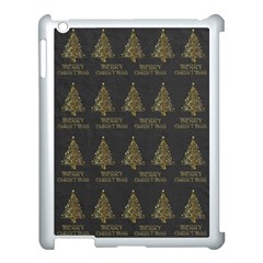 Merry Christmas Tree Typography Black And Gold Festive Apple Ipad 3/4 Case (white) by yoursparklingshop