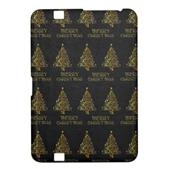 Merry Christmas Tree Typography Black And Gold Festive Kindle Fire Hd 8 9  by yoursparklingshop