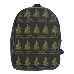 Merry Christmas Tree Typography Black And Gold Festive School Bags (xl)  by yoursparklingshop
