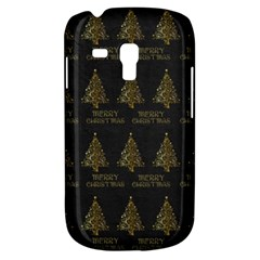 Merry Christmas Tree Typography Black And Gold Festive Samsung Galaxy S3 Mini I8190 Hardshell Case by yoursparklingshop