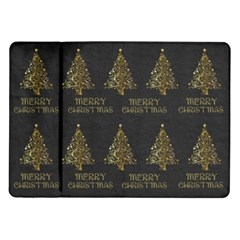Merry Christmas Tree Typography Black And Gold Festive Samsung Galaxy Tab 10 1  P7500 Flip Case by yoursparklingshop