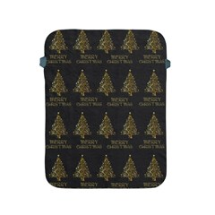 Merry Christmas Tree Typography Black And Gold Festive Apple Ipad 2/3/4 Protective Soft Cases by yoursparklingshop