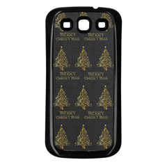 Merry Christmas Tree Typography Black And Gold Festive Samsung Galaxy S3 Back Case (black) by yoursparklingshop