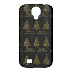 Merry Christmas Tree Typography Black And Gold Festive Samsung Galaxy S4 Classic Hardshell Case (pc+silicone) by yoursparklingshop