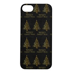 Merry Christmas Tree Typography Black And Gold Festive Apple Iphone 5s/ Se Hardshell Case by yoursparklingshop