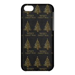 Merry Christmas Tree Typography Black And Gold Festive Apple Iphone 5c Hardshell Case by yoursparklingshop