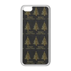 Merry Christmas Tree Typography Black And Gold Festive Apple Iphone 5c Seamless Case (white) by yoursparklingshop