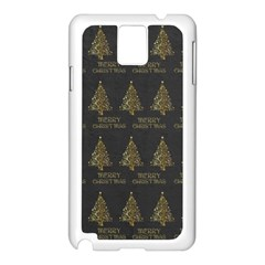 Merry Christmas Tree Typography Black And Gold Festive Samsung Galaxy Note 3 N9005 Case (white) by yoursparklingshop