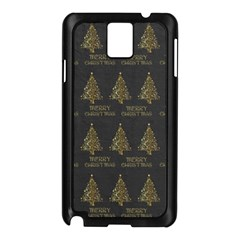 Merry Christmas Tree Typography Black And Gold Festive Samsung Galaxy Note 3 N9005 Case (black) by yoursparklingshop
