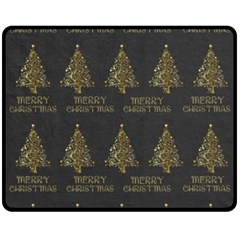 Merry Christmas Tree Typography Black And Gold Festive Double Sided Fleece Blanket (medium)  by yoursparklingshop