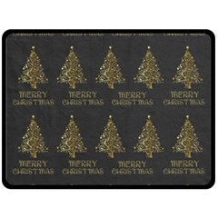 Merry Christmas Tree Typography Black And Gold Festive Double Sided Fleece Blanket (large)  by yoursparklingshop